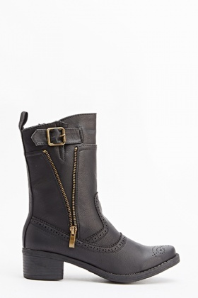 Laser Cut Buckle Side Boots