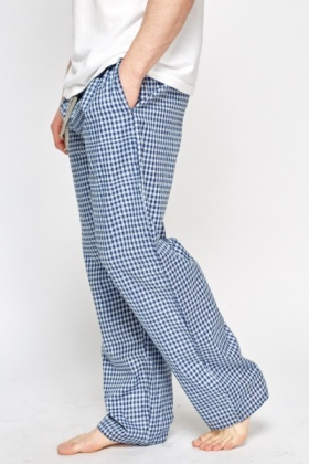 Blue Checked Pyjama Trousers