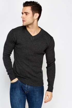 Casual Ribbed Neck Pullover