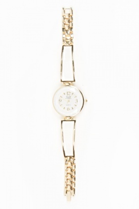 Contrast Strap Round Face Watch