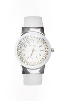 Encrusted Round Face Contrast Watch