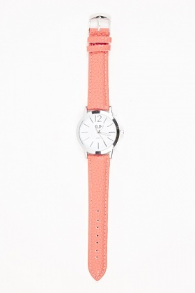 Faux Leather Strap Round Watch