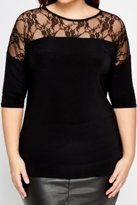 Lace Shoulder Black Top