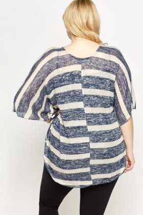 Middle Blue Batwing Striped Top