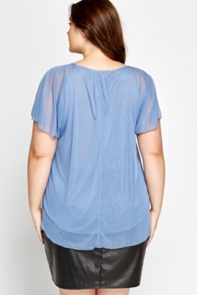 Middle Blue Frill Top