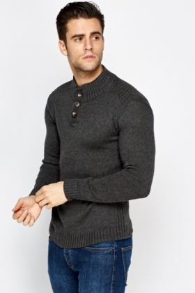 Ribbed Button Neck Cotton Jumper