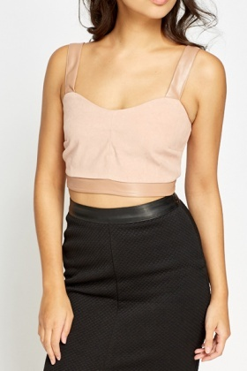 Faux Leather Nude Bralet