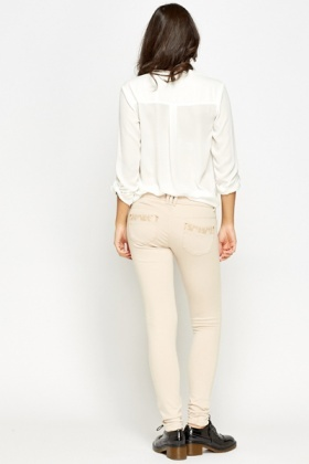 Gold Button Beige Trousers