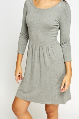 Grey Casual Skater Dress