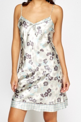 Multi Grey Floral Silky Night Dress