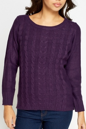 Plait Detail Front Knitted Jumper
