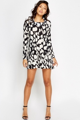 Polka Dot Pleated Mini Dress