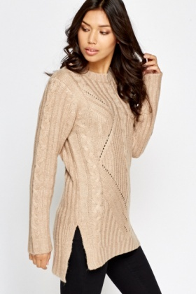 Ribbed Sand Long Jumper