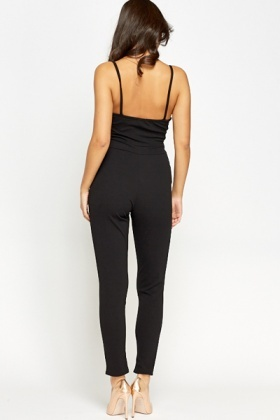 Thin Strap Black Jumpsuit