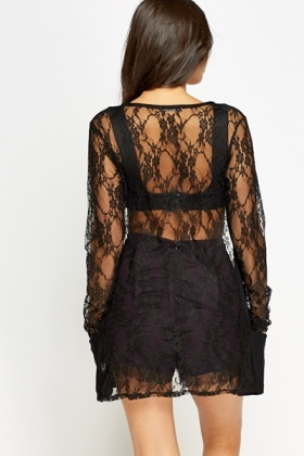 Black Lace Open Cardigan - Just £5
