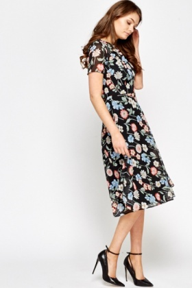 Floral Swing Black Midi Dress