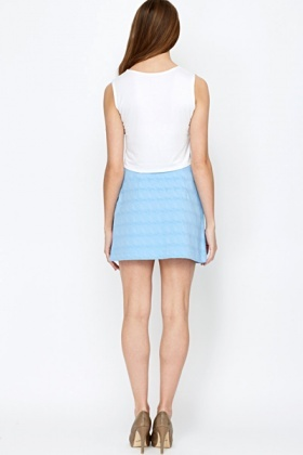 Pattern Front Zip Front Mini Skirt