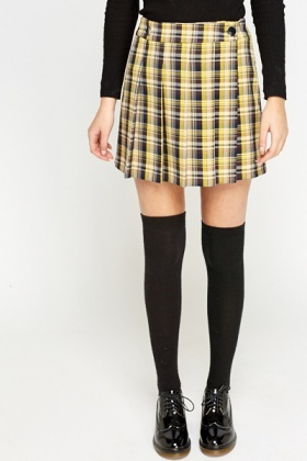 2a6a3ba1a2 Pleated Yellow Check Skirt - Just £5
