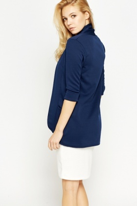 Dark Blue Lapel Front Cardigan