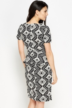 Mono Aztec Peplum Dress