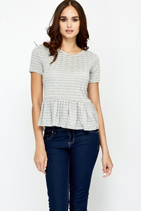 Textured Flared Hem Top