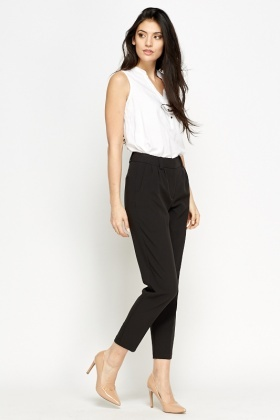 Charcoal Formal Cropped Trousers
