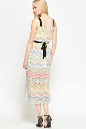 Mix Print Belted Midi Dress