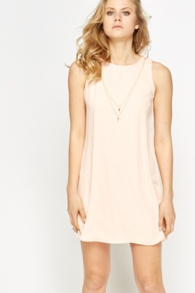Peach Necklace Shift Dress