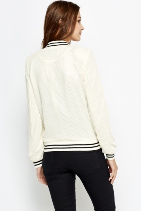 Perforated Contrast Bomber Jacket