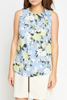 Pleated Floral Shell Top
