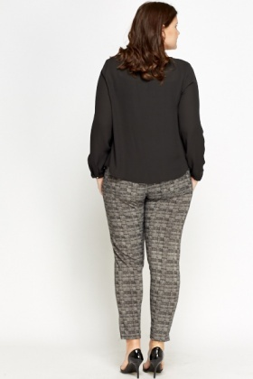 Black Patterned Elasticated Trousers