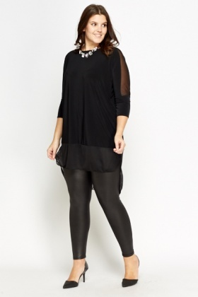 Black Sheer Contrast Top