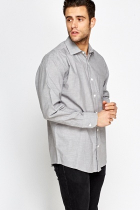 Grey Basic Button Up Shirt