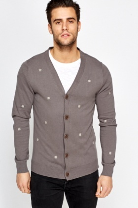 Stitched Patterned Button Up Cardigan