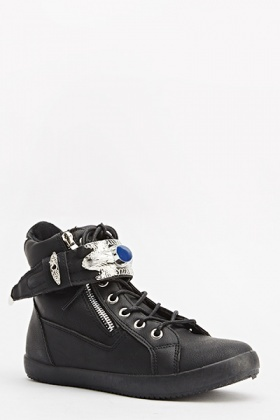 Black Embellished Hi-Top Trainers