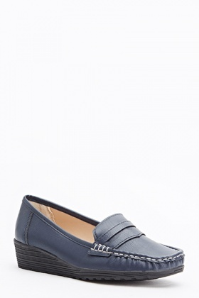 Contrast Stitch Wedged Loafers