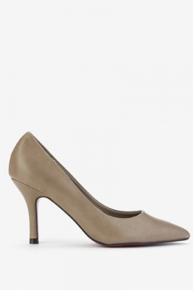 Mid Faux Leather Court Heels