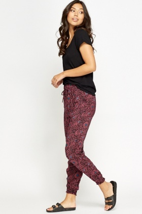 Pink Flower Print Joggers