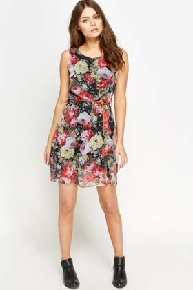 Rose Print Silky Skater Dress