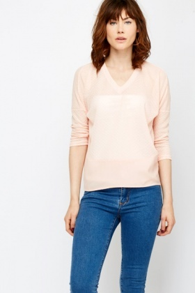 Sheer Insert Hem Knitted Top