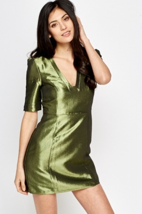 Olive Metallic Shift Dress