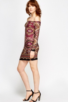 Purple Tapestry Print Dress