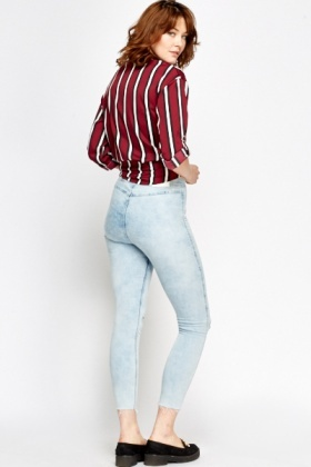 Washed Light Blue High Waisted Jeans