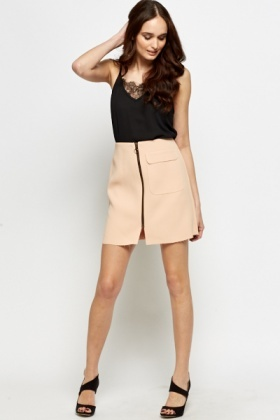 Front Zip Peach Skirt