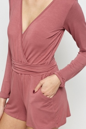 Mauve Plunge Mini Playsuit