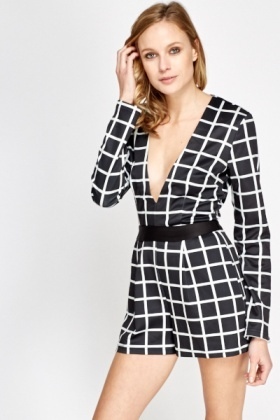 Check Grid Plunge Playsuit