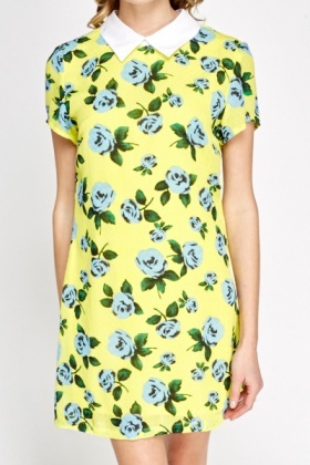 Collar Yellow Floral Shift Dress