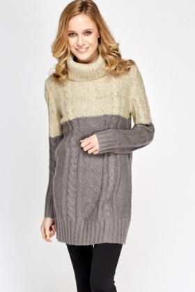 Colour Block Roll Neck Knit Jumper