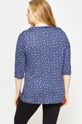 Heart Print Night Wear Top