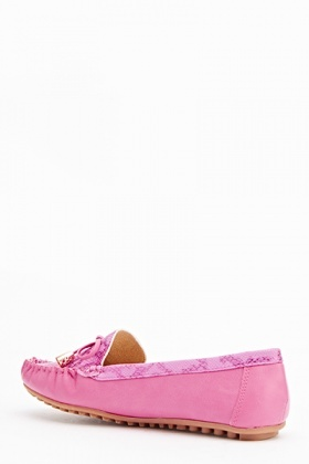 Mock Croc Bow Loafers